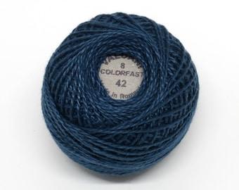 Valdani Pearl Cotton Thread Size 8 Solid: #42 Deep Blue Teal