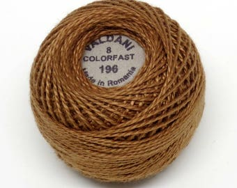 Valdani Pearl Cotton Thread Size 8 Solid: #196 Golden Brown