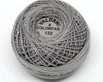 Valdani Pearl Cotton Thread Size 8 Solid: #122 Light Medium Gray
