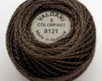 Valdani Pearl Cotton Thread Size 8 Solid: #8121 Brown Black Light