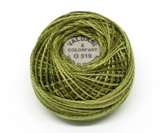 Valdani Pearl Cotton Thread Size 12 Variegated: #O519 Green Olives