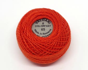 Valdani Pearl Cotton Thread Size 8 Solid: #65 Orange Red