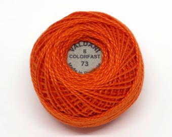 Valdani Pearl Cotton Thread Size 8 Solid: #73 Peach Orange Dark