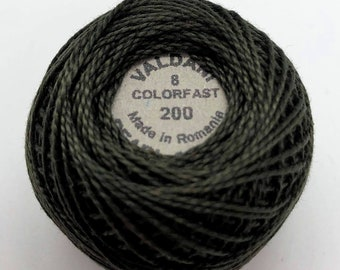 Valdani Pearl Cotton Thread Size 8 Solid: #200 Dark Chocolate