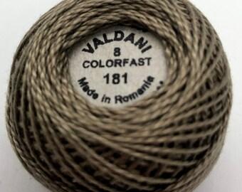 Valdani Pearl Cotton Thread Size 8 Solid: #181 Olive Stone Dark