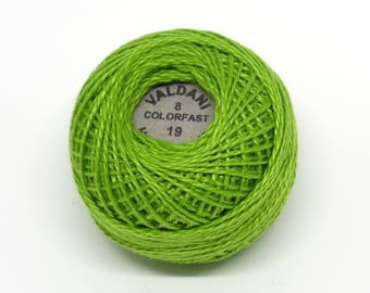 Valdani Pearl Cotton Thread Size 8 Solid: #19 Deep Lime
