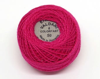 Valdani Pearl Cotton Thread Size 8 Solid: #50 Magenta