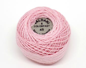 Valdani Pearl Cotton Thread Size 8 Solid: #45 Baby Pink Medium Light