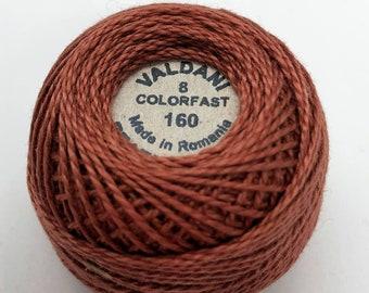 Valdani Pearl Cotton Thread Size 8 Solid: #160 Light Maroon