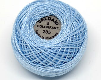 Valdani Pearl Cotton Thread Size 8 Solid: #205 Soft Sky Blue