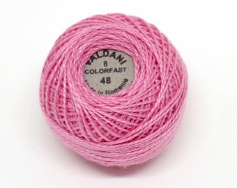 Valdani Pearl Cotton Thread Size 8 Solid: #48 Baby Pink Medium Dark