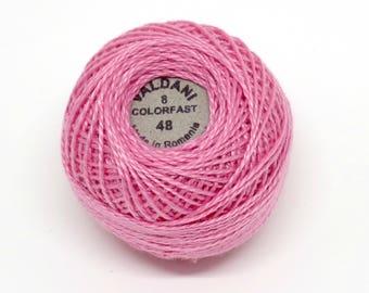 Valdani Pearl Cotton Thread Size 8 Solid: #48 Baby Pink Medium Dark
