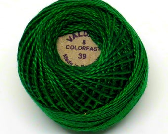 Valdani Pearl Cotton Thread Size 8 Solid: #39 Forest Green