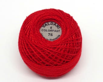 Valdani Pearl Cotton Thread Size 8 Solid: #76 Christmas Red