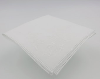 Square White Cotton Handkerchief With Floral Embroidery And Spokes For Attaching A Lace Edging