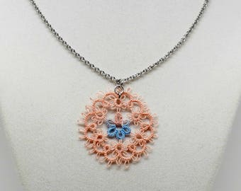 Tatted Lace Pendant With Chain: Spring Garden