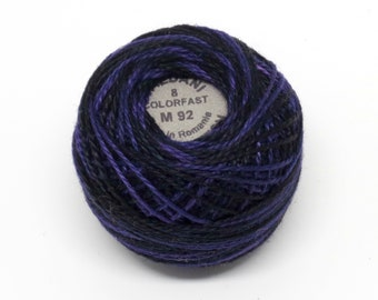 Valdani Pearl Cotton Thread Size 12 Variegated: #M92 Black and Indigo