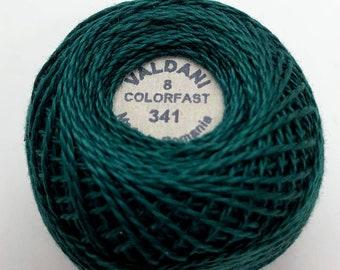 Valdani Pearl Cotton Thread Size 8 Solid: #341 Dark Teal