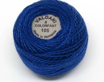 Valdani Pearl Cotton Thread Size 8 Solid: #105 Luminous Rich Navy