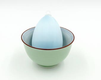 Satin Covered Egg Ornament: Light Blue
