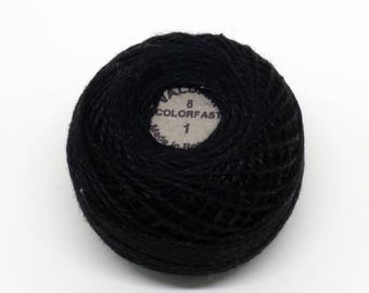 Valdani Pearl Cotton Thread Size 12 Solid: #1 Black