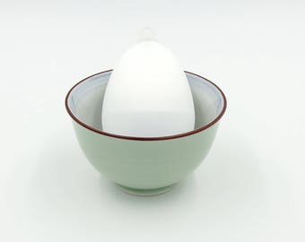 Satin Covered Egg Ornament: White