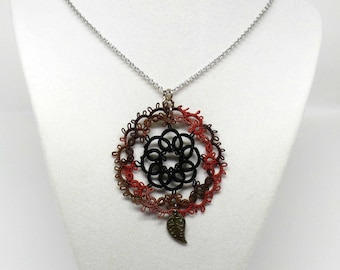 Tatted Lace Pendant With Chain: Autumn Garden