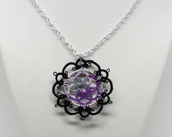 Tatted Lace Pendant With Chain: Winter Garden