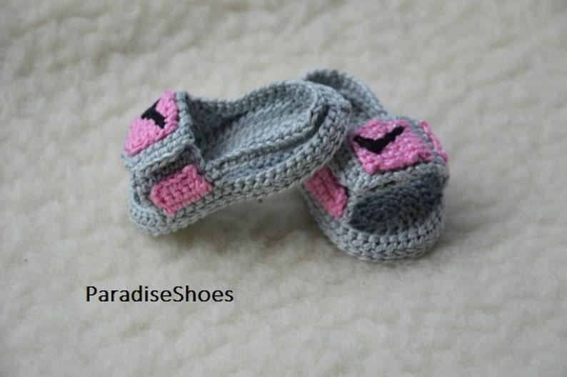 434fea086e7 Crochet jordan hydro 3 shoes crochet jordan sandals baby | Etsy