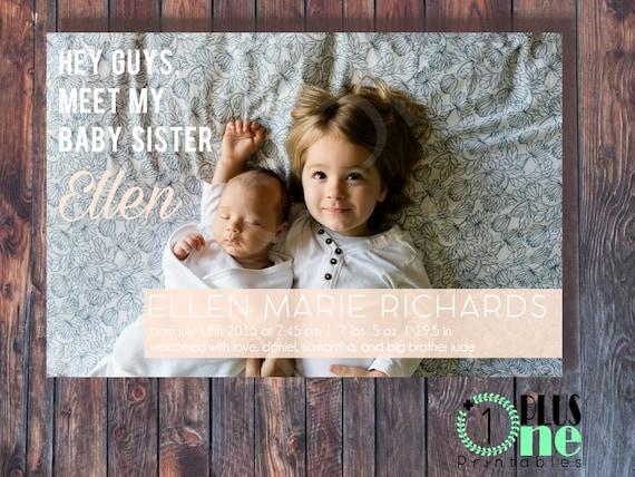 1 Girl Boy Digital File Printable DIY\u00a0 Baby Birth Announcement No Custom
