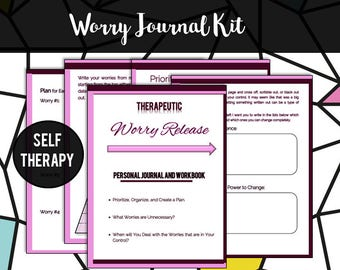 Worry Journal Kit // Life Coaching Tool // Therapy // Self Care // Plan // Anxiety // Exercises // Pink // Stress Relief // Mental Health
