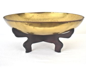 Large Brass Bowl With Etched Floral Design And Wood Stand
