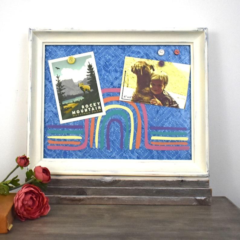 Memo Board Rainbow Decor Magnetic Bulletin Board Wall Organizer White Framed Magnet Board with Rainbow Over Blue Batik Background