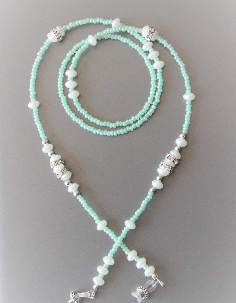 eyeglass neck cord woman gift cord,glasses holder Gentle Pearl glasses chain beaded light green eyeglasses lanyard with rhinestones