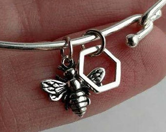 Honeybee Bracelet, Bee, Charm, Bangle, Bracelet, Honeybee, Talisman, Hindu, Strength, Jewelry, Gift, .925, Sterling, Silver, Sterling Silver