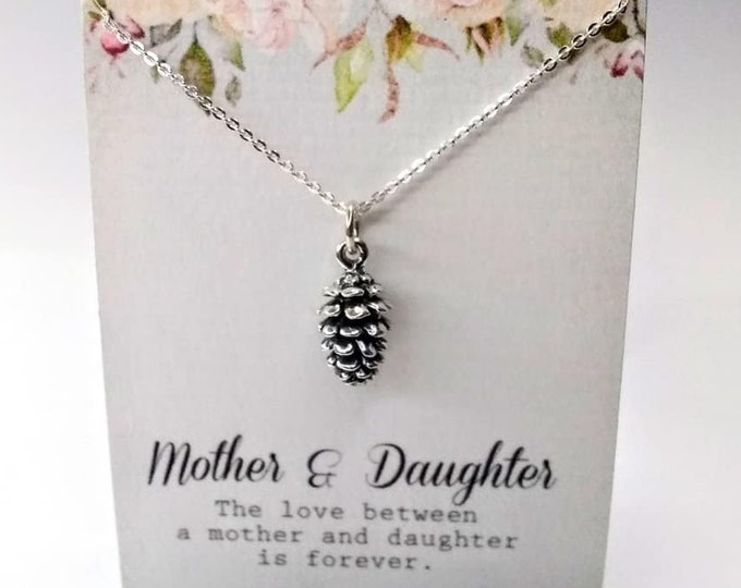 Pine Cone Woods Tree Charm Pendant Necklace Jewelry Sterling Silver Necklace Mother Daughter Pinecone Necklace