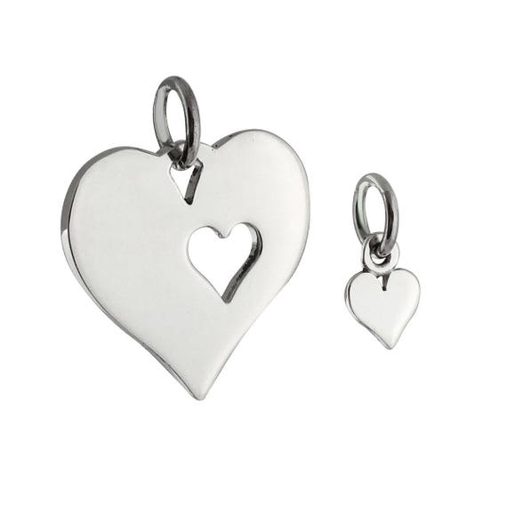 MOTHER DAUGHTER HEART 2 PIECE CHARM 925 STERLING SILVER 2 in 1 charm