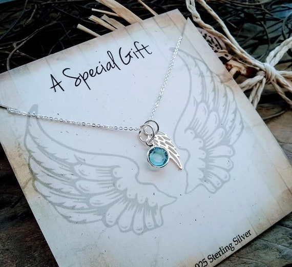 Angel Wing Necklace with Letter /& Birthstone in a Christmas Gift Box.