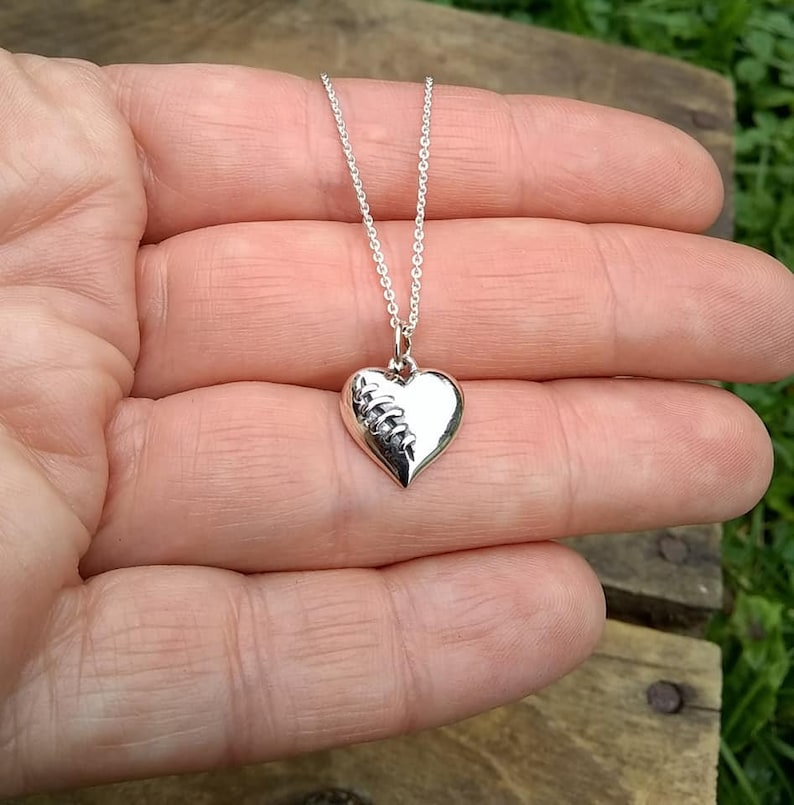 Mended Heart Necklace with Silver Sutures