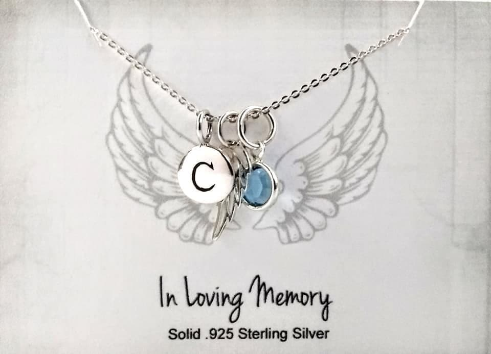 Initial Disc Necklace -Mother Gift Custom Jewelry Memory Necklace Angel Wing Memorial Personalized Necklace Birthstone Necklace
