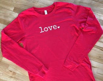 dc91456fb Valentine's Day Shirt | Love Heart Shirt | Long-sleeved Adult, Youth,  Toddler and Infant bodysuit