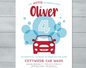 Car Wash Birthday Invitat...
