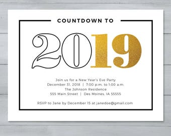 new years eve party invitation new years invitation countdown to 2019 new years invitation