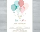 Pink Blue Balloons Gender...