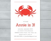 Crab Birthday Party Invit...