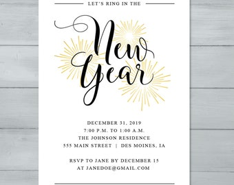 free new years eve online invitations punchbowl trendy gold glitter