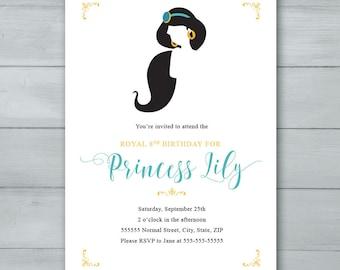 Jasmine invite etsy jasmine birthday party invitation princess invitation jasmine invite stopboris Image collections
