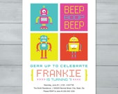 Robot Birthday Party Invi...