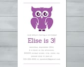 Owl Birthday Party Invita...