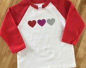 Hearts Glitter Red Raglan...